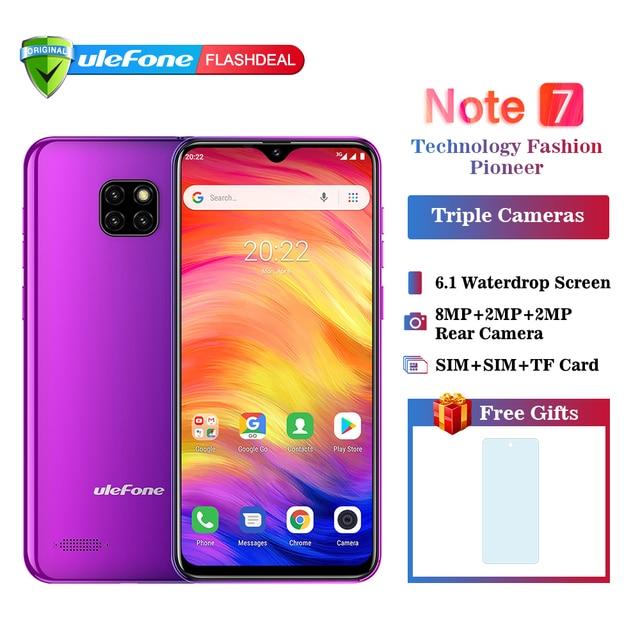 הערה Ulefone 7 Smartphone 3500 mAh 19:9 Quad Core 6.1 אינץ ואטארדרוף מסך 16 GB ROM נייד טלפון WCDMA נייד android8.1