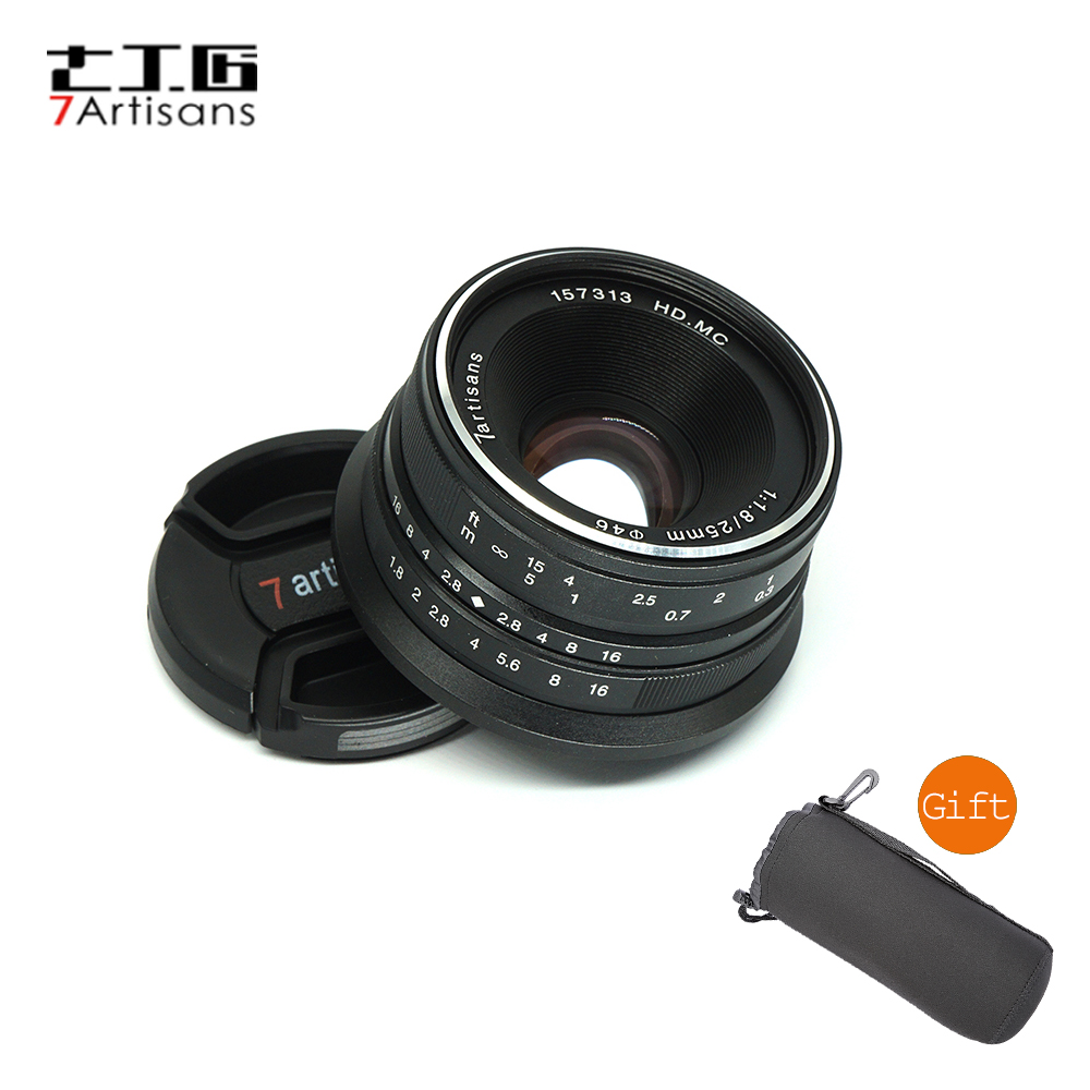 7artisans 25mm F1.8 Prime Lens with E Mount for Canon EOS-M Micro 4/3 Mount / for Sony A7 A7II A7R A7RII 7artisans 25mm f1 8 prime lens to all single series for e mount canon eos m mout micro 4 3 cameras a7 a7ii a7r free shipping