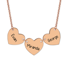 Wholesale Engraved Heart Pendant Necklace Rose Gold Color Love Name Necklace for Women ( 3 Hearts Price)
