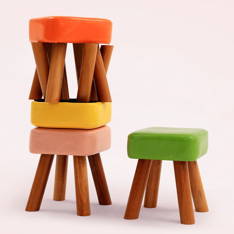Superb Details About Modern Leather Solid Wood Stool Small Stools Wooden Footstool Shoe Dining Chair Camellatalisay Diy Chair Ideas Camellatalisaycom