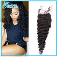 Unprocessed Virgin Peruvian Deep Wave Closure Bleached Knots Cheap 4*4 Human Hair Lace Closure With Baby Hair No Tangle No Shed