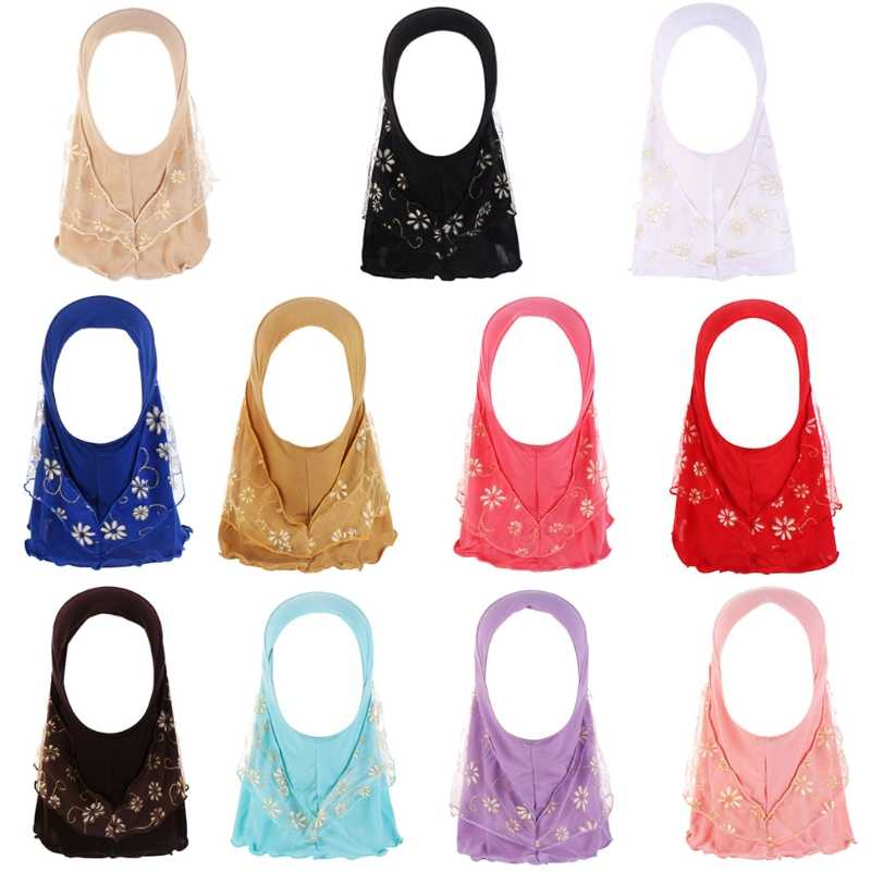 Children Kids Muslim Small Girl Hijab With Lace Flower Pattern Islamic Scarf Shawls Stretch 56cm 7-11 Years Old