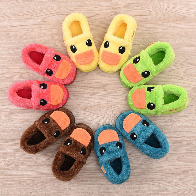 children winter shoes thicken warm soft plush girls slippers slip resistant kids household shoes cartoon boys cotton slippers