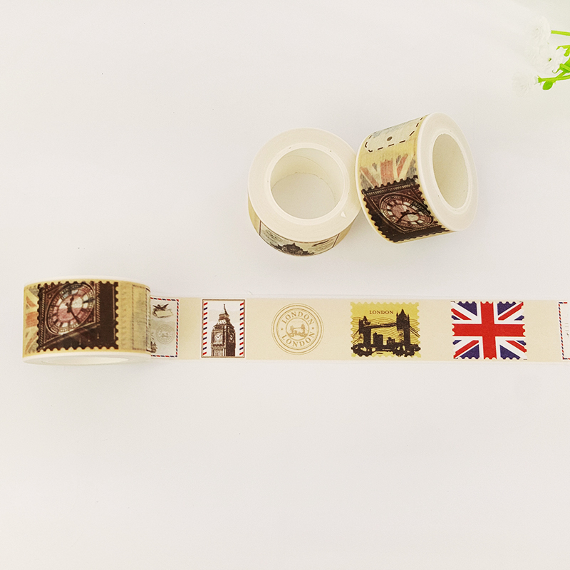 25mm 10m Vintage stamp paper washi tape DIY decoration scrapbooking planner masking tape adhesive tape label sticker stationery in Office Adhesive Tape from Office School Supplies