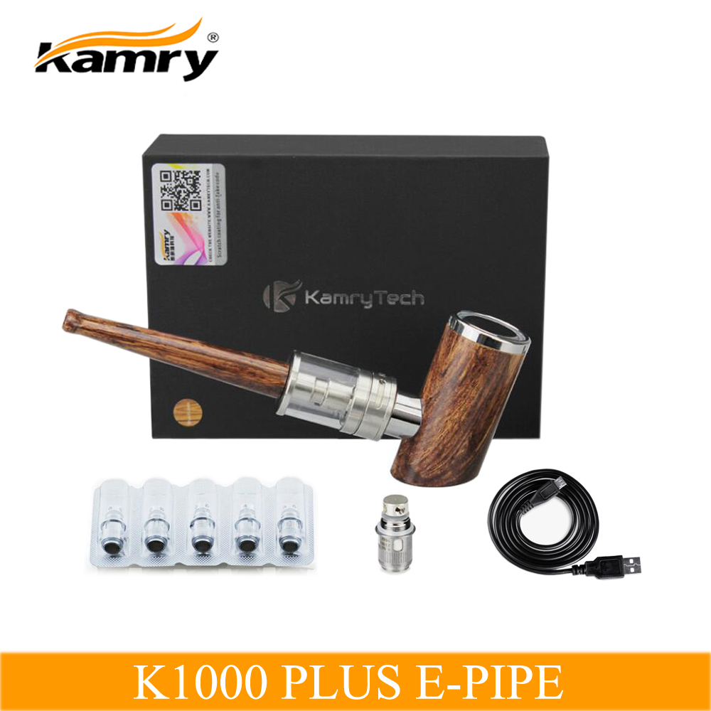 Original Kamry K1000 Plus E Pipe Electronic Cigarette Mod Hookah Pen Led Pwm Tubelight Circuit Atomizer Coil Temperature Controller Wooden Kit With Extra 5