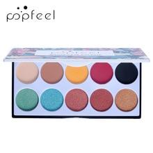 POPFEEL 10 Color Pearlescent Matte Eye Shadow Makeup Waterproof and Sweatproof Earth High Gloss Glitter Eyeshadow Pallete