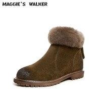 ماجي ووكر جلد الغزال الأزياء والأحذية النسائية الشتاء أرنب الشعر عارضة سستة الكاحل الأحذية حجم 35 ~ 39