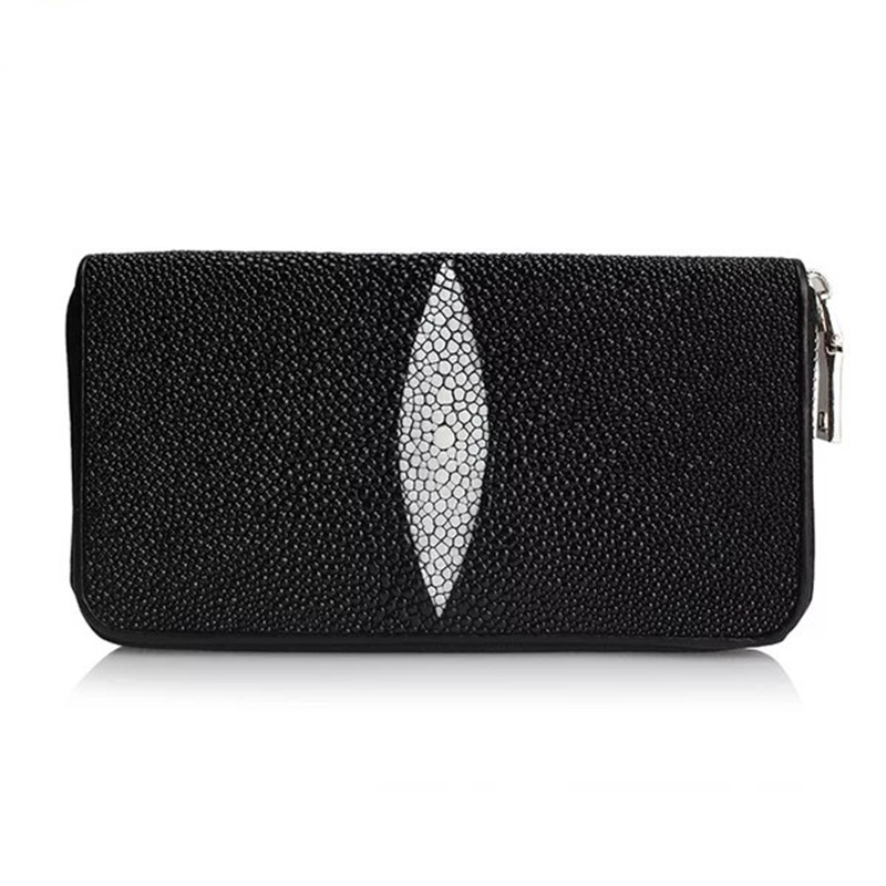 Classical Black White Color Designer Genuine Stingray Skin Womens Long Clutch Wallet Exotic Leather Mens Organizer Card WalletClassical Black White Color Designer Genuine Stingray Skin Womens Long Clutch Wallet Exotic Leather Mens Organizer Card Wallet