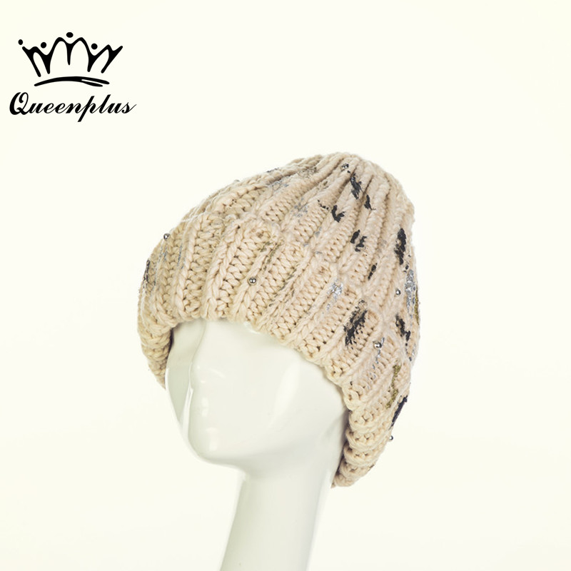 2017 New Fashion Winter Quality Hand knitting wool pearl edge curl Knitted Hat For Women/Ladies the new children s cubs hat qiu dong with cartoon animals knitting wool cap and pile