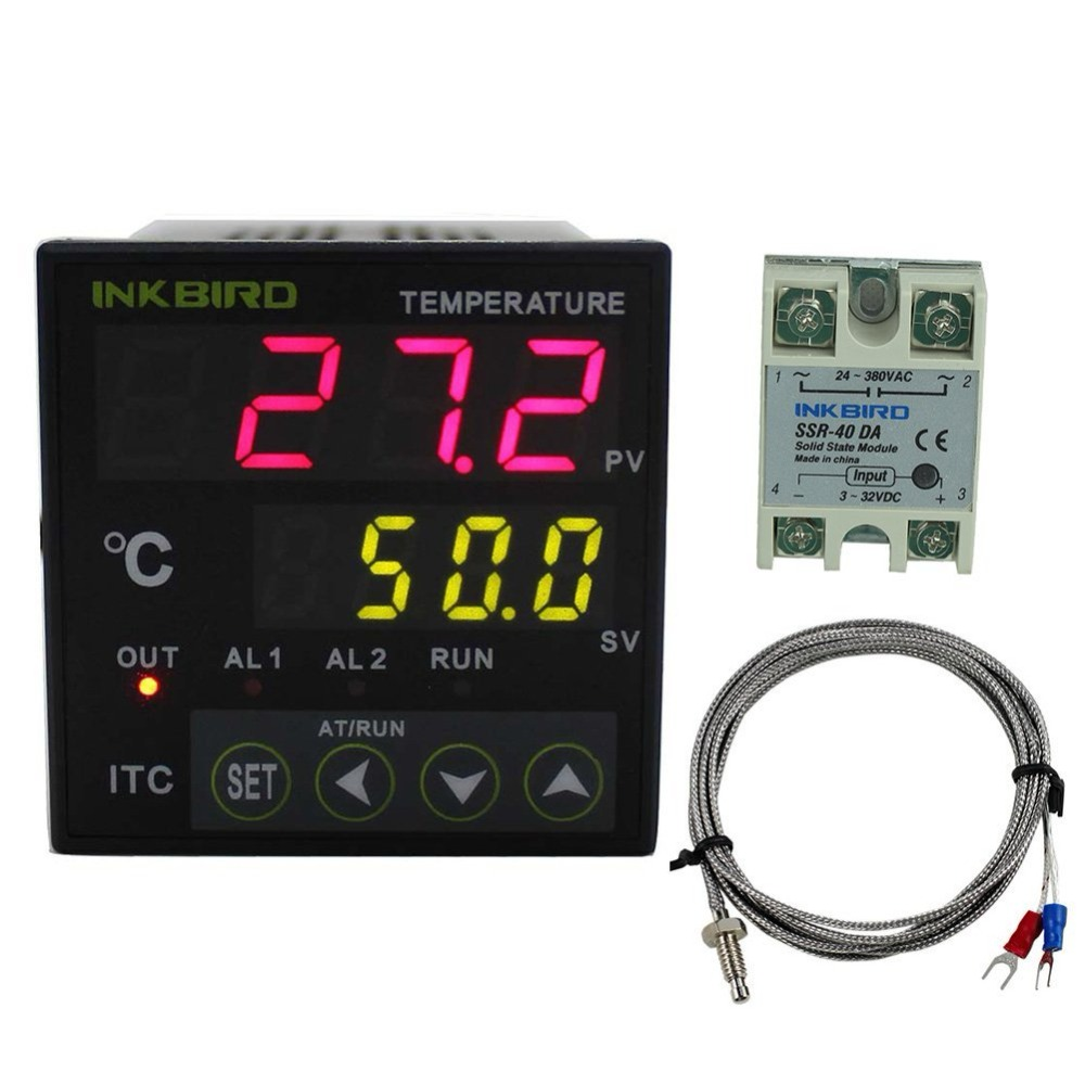 Inkbird Digital PID Temperature Controller 12/24V Fahrenheit ITC-106VL+K Sensor+40 A SSR For Home Brewing, Carboy,Greenhouse inkbird itc 308s eu plug 220v pre wired digital thermostat dual stage temperature controller with ntc sensor for brew aquarium