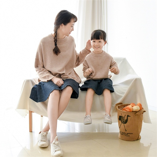 2017 brand rabbit hair solid family look clothing set mother and daughter sweater family matching clothes mom and girls sweaters