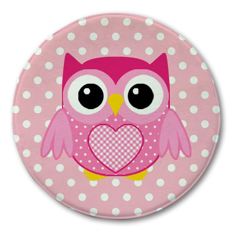 Owl Printed Round Carpet Rug Doormat Bathroom Rugs Kitchen Carpets Floor  Mat Kids Room Entrance Door