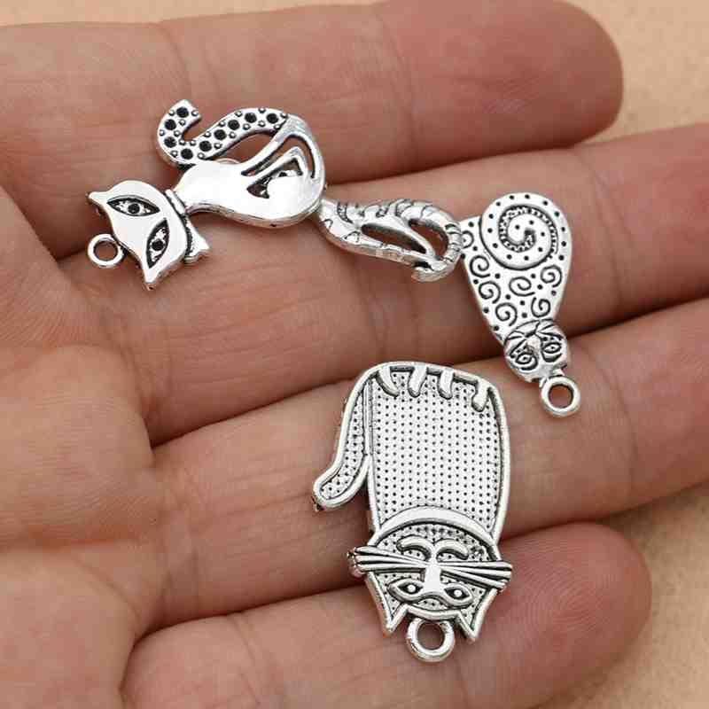 LOVE Silver Cat//Heart Charms Pendants Findings 22x14mm 200x