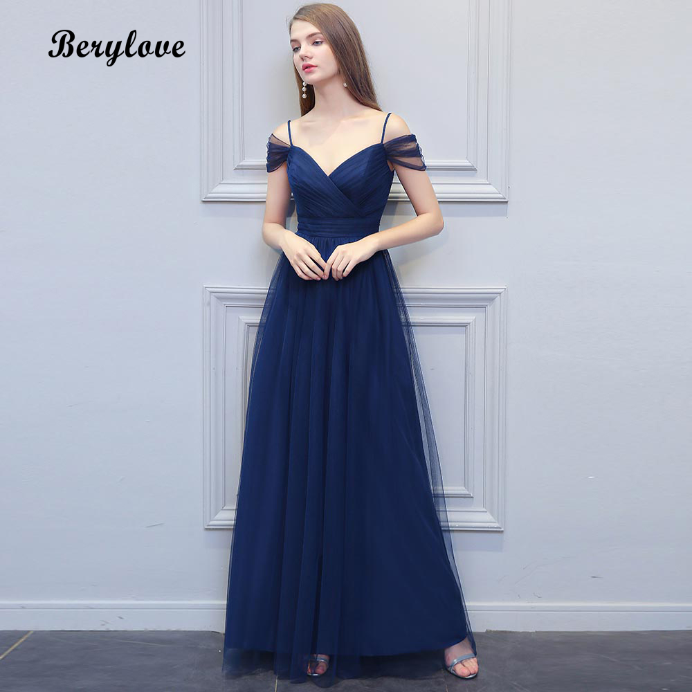 071d0db13f83f US $90.91 5% OFF|BeryLove Long Navy Blue Tulle Evening Dresses Simple Off  Shoulder Prom Dresses 2019 Fashion Formal Dress Special Occasion Gowns-in  ...