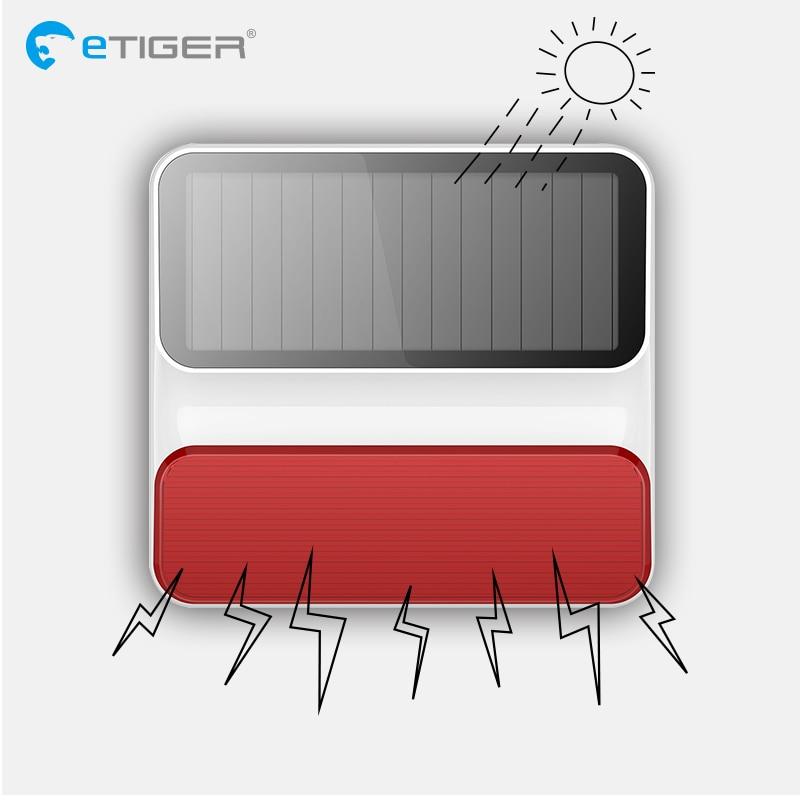 eTiger 433 mhz sirene de flash de energia solar ao ar livre sem fio ES-S8A para sistema de alarme eTiger G90Bplus