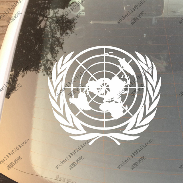 Un united nation vinyl car decal bumper sticker 30cm high its your world
