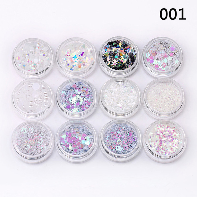 12 Colors Mixed Flake Chunky Eye Glitter Nail Face Eye Shadow Sequins Set Decorations Festival Body Dance Tools Makeup Kits