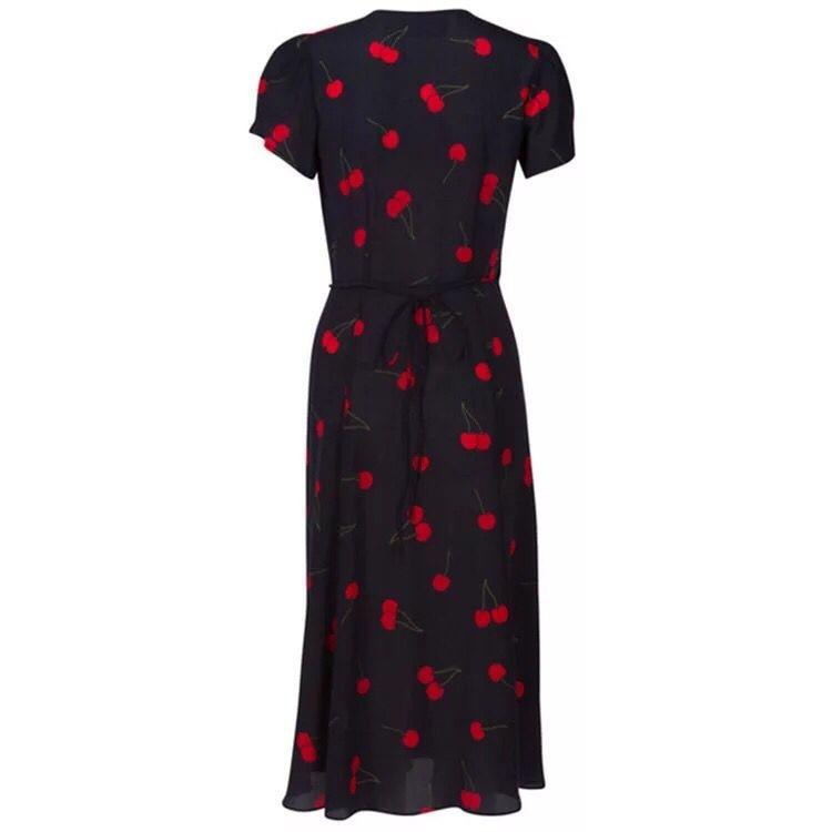 Midi De Cerise Clair Robe En Floral Vintage Femmes Mousseline Soie 2018 qFv8tF0