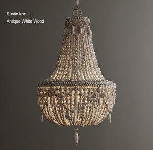 Image 3 - アンティークホワイト木製ビーズシャンデリア照明ヴィンテージ黒キッチンシャンデリアレトロ木製照明器具