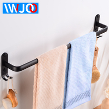 Towel Bars Aluminum Wall Mounted Bathroom Towel Rack Holder with Hooks Black Decorative Clothes Towel Rail Hanger Storage Shelf недорго, оригинальная цена