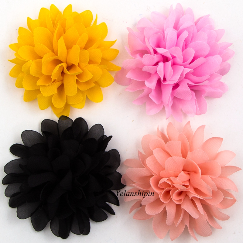 1PC 4 16colors Big Fluffy Chiffon Hair Flower Clips For Kids Hair Accessories Fabric Flowers Clip For Kids Headbands DIY 50pcs lot 4 1 17colors shabby lace mesh chiffon flower for kids girls hair accessories artificial fabric flowers for headbands