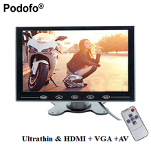 "Podofo 9"" Ultrathin HD Color TFT 2 Video Input Car Monitor Display Screen For PC CCTV with AV/HDMI/VGA Video Input with Speaker"