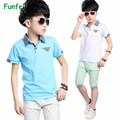 Boys Clothes Set 2016 Summer Cotton Boy clothing set Casual Boys Clothing Kids tracksuit Short Sleeve Polo T-shirt shorts 4T-16T