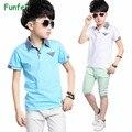 Meninos roupas definir 2016 algodão verão conjunto de roupas menino meninos roupas crianças agasalho de manga curta polo ocasional t-shirt shorts 4 t-16 t