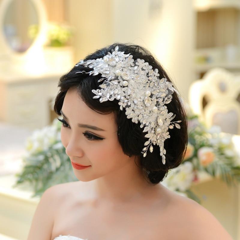 Handmade Lace Wedding Tiara Rhinestone Pearl Bridal Hair