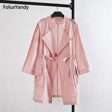 Loose Women Long Trench Coat Plus Size 3XL 4XL Casual Pink Khaki Outerwear Eqaulet KK1346