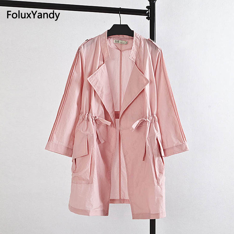 Loose Women Long   Trench   Coat Plus Size 3XL 4XL Casual Pink Khaki Outerwear Eqaulet   Trench   KK1346