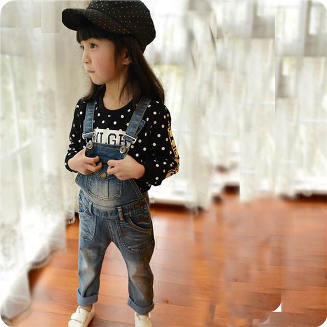 Spring children's denim overalls Korean version children's clothing children trousers cute frock kids clothes  baby