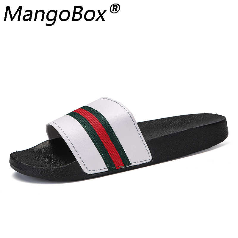 d9b8f6721c3a64 Men Slippers Flat 2018 Summer Mens Shoes Breathable Casual Beach Slippers  Wedge Black White Flip Flops