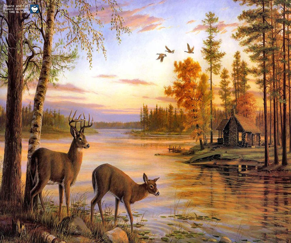 Fall Hunting Wallpaper Full Drill Needlework 3d Diy Diamond Painting Animal Deer