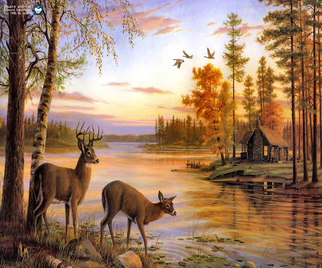 Buy full drill needlework 3d diy diamond for Deer mural wallpaper