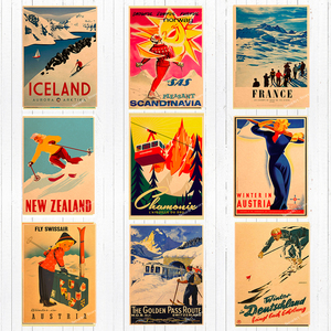 Ski in Australia New Zealand Canvas Painting Vintage Wall Kraft Posters Coated Wall Stickers Home Decoration Pictures Gift(China)