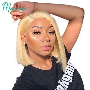 Image 4 - Monstar 613 Blonde Spitze Front Perücke 13x6 Kurze Bob Perücke Malaysische Gerade Remy 1B 613 Ombre Blonde Farbe spitze Front Menschliches Haar Perücke
