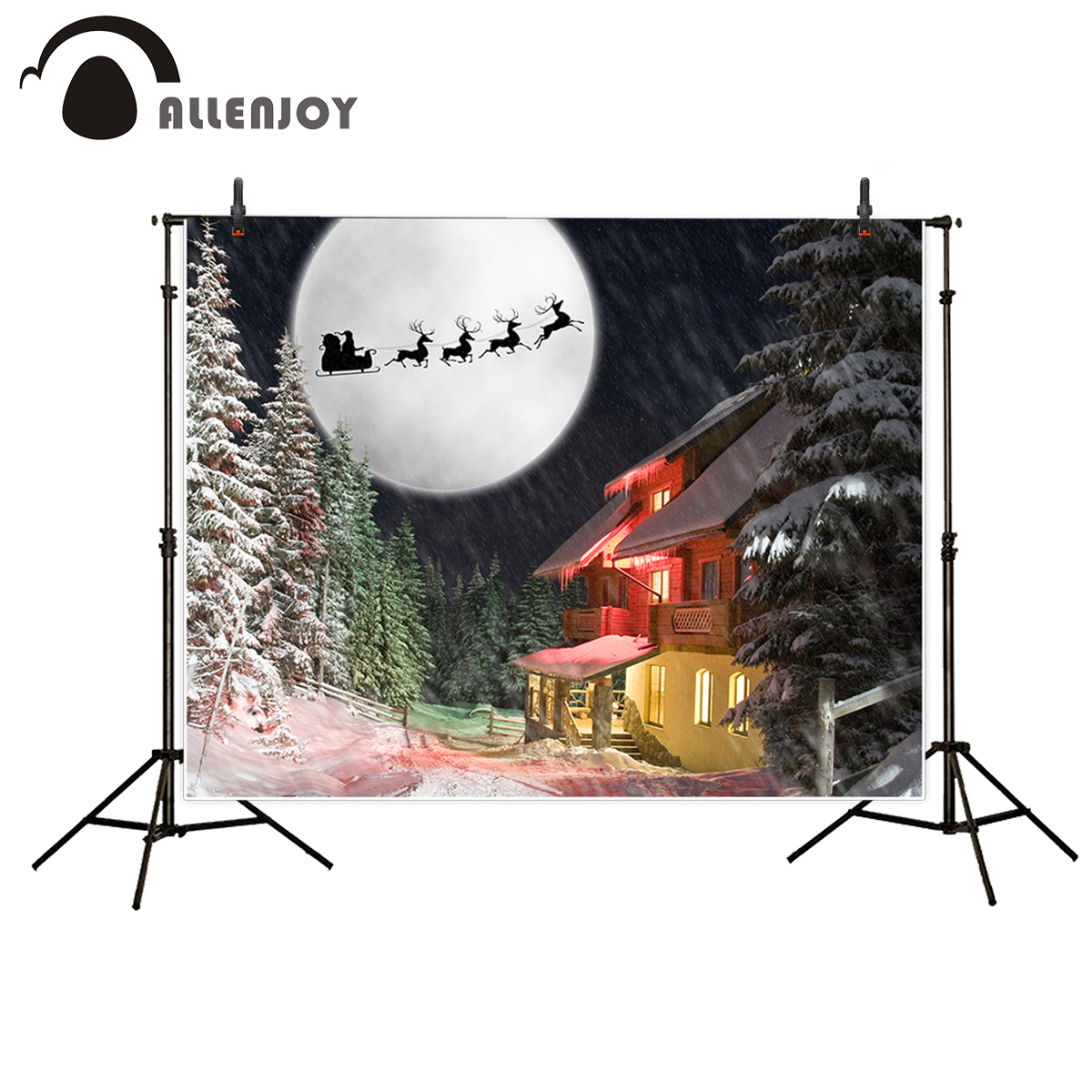 Allenjoy vinyl photographic background Forest snow house full moon elk Christmas backdrop photocall professional customized