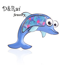 Cute Alloy Enamel Dolphin Pins and Brooches Metal Scarf Pin Christmas Gifts for Women Kids Cartoon Animal Brooch Fashion Jewelry creativity fashion animal alloy coat cartoon brooch