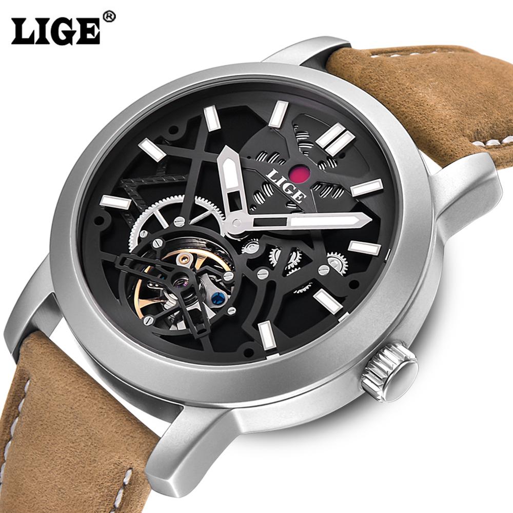Prix pour LIGE de mode casual sport Montres Hommes Plongée 50 M Militaire En Cuir Creux Montre-Bracelet homme horloge Relogio de Marque montre Hommes Masculino