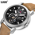 LIGE fashion casual sport Watches Men Dive 50M Military Leather Hollow Wristwatch man clock Brand watch Men's Relogio Masculino