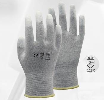 цена на 13 Gauge Carbon Nylon Lining ESD Safe Glove 120 Pairs Anti static PU Finger Top Coated Work Gloves