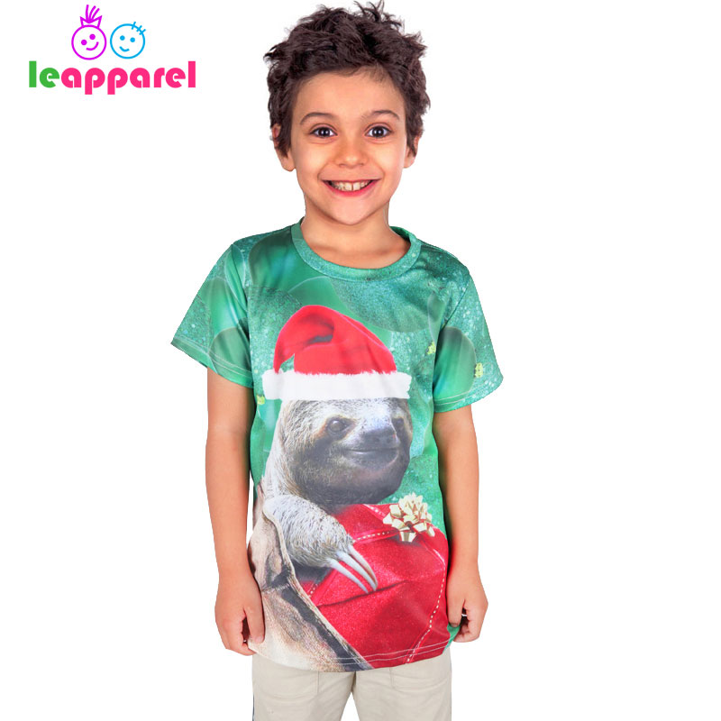 2019 New Style Leapparel Casual 3d Sloth Christmas Tops Cute Summer Cartoon Tees Short Sleeve T-shirts For Boys Girl Kid Children Clothes