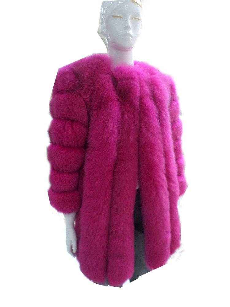 Long real fox fur coat