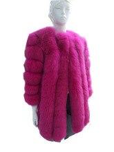 Long, real fox fur coat