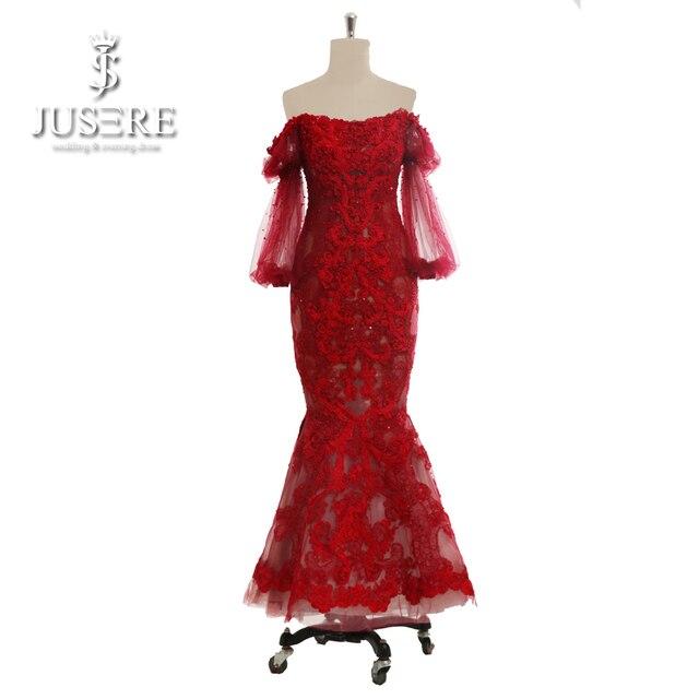 Jusere Robe De Soiree Fashion Banquet Elegant Long Sleeve Evening Dress Wine Red 3D Lace Beading Prom Dresses Custom