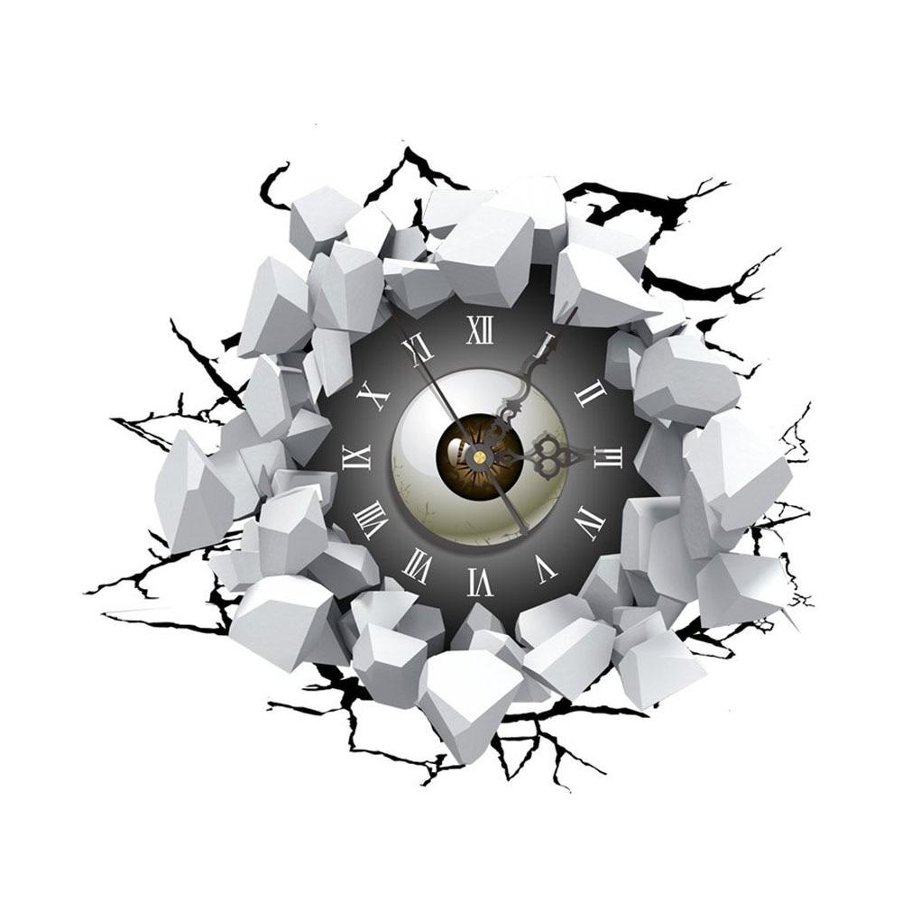 """DIY 3D Art Wall Clock Decals Eyes Wall Hole Clock Sticker Office Home Wall Decor Gift 16""""x15"""