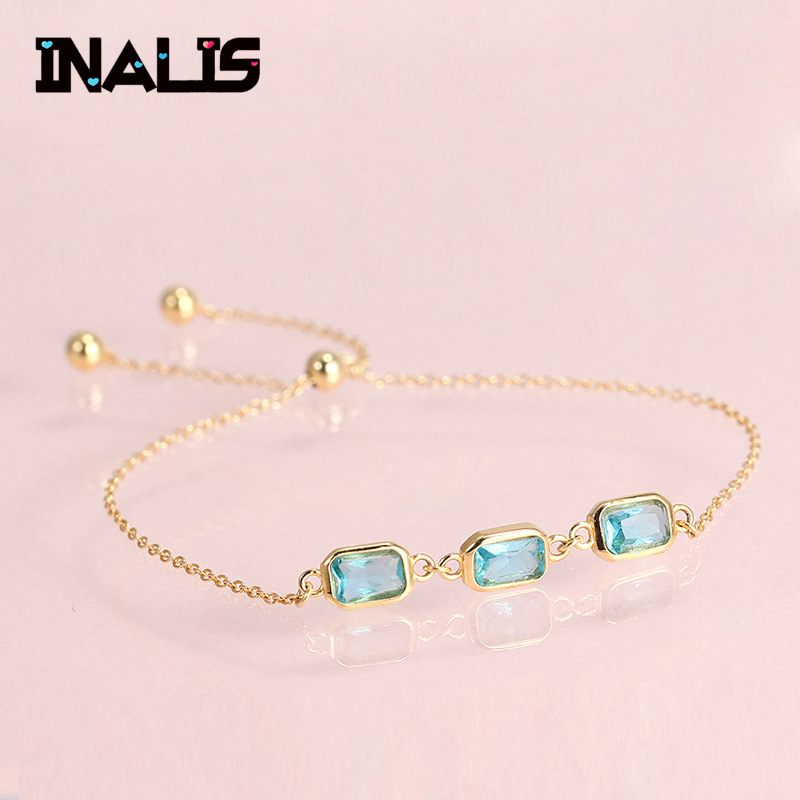 INALIS New Adjustable Charming Bracelets & Bangles With Blue Cubic Zirconia Gold Color For Woman Jewelry Gift Pulseras MujerINALIS New Adjustable Charming Bracelets & Bangles With Blue Cubic Zirconia Gold Color For Woman Jewelry Gift Pulseras Mujer