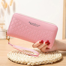 Double zipper ladies clutch bag long section large capacity double card holder clutch bag PU leather multi-function printing 2 f double clutch a brenna blixen novel