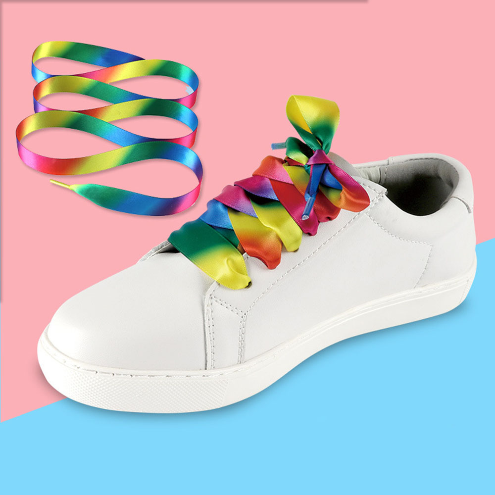 1pair 120cm Gradient Rainbow Flat Silk Ribbon Shoelace Sports Casual Shoes Laces Sneaker Boots Strings Free Shipping flat laced letter nice men s sports shoes fashion casual shoes black and white shoelace 120cm